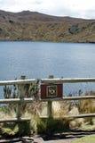 Κανένα σημάδι αλιείας σε μια λίμνη βουνών στην οικολογική επιφύλαξη Antisana, Ισημερινός Στοκ Εικόνες