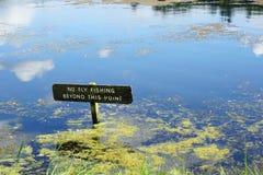 Κανένα σημάδι αλιείας στη φυσική μπλε λίμνη Στοκ Εικόνα