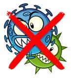 Κανένα σημάδι κινούμενων σχεδίων μικροβίων Στοκ εικόνες με δικαίωμα ελεύθερης χρήσης