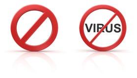 Κανένα σημάδι και κανένας ιός Στοκ φωτογραφίες με δικαίωμα ελεύθερης χρήσης