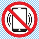 Κανένα τηλέφωνο, στρογγυλό κόκκινο διανυσματικό σημάδι Μην σημάδι κινητών τηλεφώνων Στοκ Φωτογραφίες