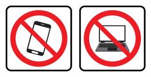Κανένα τηλεφωνικό εικονίδιο και κανένα εικονίδιο lap-top ελεύθερη απεικόνιση δικαιώματος