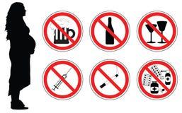 Κανένα φάρμακο, οινόπνευμα, καπνίζοντας τσιγάρα για τη έγκυο γυναίκα, διάνυσμα διανυσματική απεικόνιση