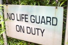 Κανένα Lifeguard στο σημάδι υπηρεσίας στοκ εικόνες