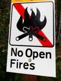 Κανένα Open Fire σημάδι σε ένα Campground Στοκ εικόνα με δικαίωμα ελεύθερης χρήσης