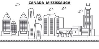 Καναδάς, απεικόνιση οριζόντων γραμμών αρχιτεκτονικής Mississauga Γραμμική διανυσματική εικονική παράσταση πόλης με τα διάσημα ορό Στοκ εικόνες με δικαίωμα ελεύθερης χρήσης