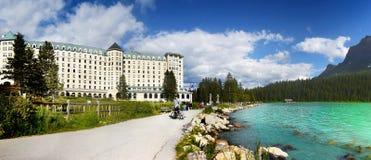Καναδάς, εθνικό πάρκο Banff, Lake Louise, πανόραμα Στοκ εικόνα με δικαίωμα ελεύθερης χρήσης