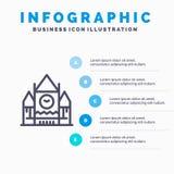 Καναδάς, κεντρικός φραγμός, κυβέρνηση, εικονίδιο γραμμών ορόσημων με το υπόβαθρο infographics παρουσίασης 5 βημάτων ελεύθερη απεικόνιση δικαιώματος