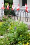 Καναδικές σημαίες μπροστά από το άσπρο σπίτι Στοκ φωτογραφία με δικαίωμα ελεύθερης χρήσης
