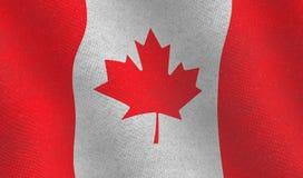 Καναδική σημαία με τη δομή υφάσματος Στοκ Φωτογραφία