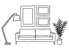 Καναπές και κενά πλαίσια εικόνων, διανυσματική χλεύη επάνω Στοκ φωτογραφίες με δικαίωμα ελεύθερης χρήσης