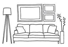 Καναπές και κενά πλαίσια εικόνων, διανυσματική χλεύη επάνω Στοκ Εικόνες