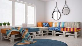 Καναπές καναπέδων παλετών DIY, Σκανδιναβική άσπρη διαβίωση, εσωτερικό desig στοκ φωτογραφίες