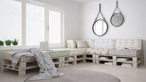 Καναπές καναπέδων παλετών DIY, Σκανδιναβική άσπρη διαβίωση, εσωτερικό desig στοκ εικόνα με δικαίωμα ελεύθερης χρήσης