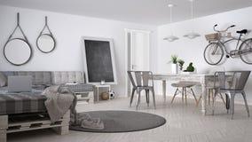 Καναπές καναπέδων DIY, παλέτα, Σκανδιναβική άσπρη διαβίωση, εσωτερικό desi στοκ φωτογραφίες