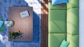 Καναπές κατά τη σύγχρονη εσωτερική τοπ άποψη καθιστικών τρισδιάστατη απεικόνιση αποθεμάτων