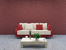 Καναπές με τα μαξιλάρια απεικόνιση αποθεμάτων