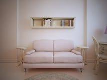 Καναπές μπροστά από έναν τοίχο στο καθιστικό απεικόνιση αποθεμάτων