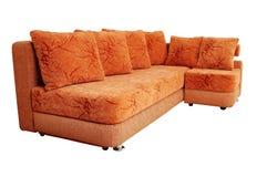 Καναπές που απομονώνεται καφετής στο λευκό Στοκ Εικόνα
