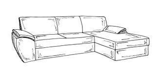 Καναπές που απομονώνεται στην άσπρη ανασκόπηση Διανυσματική απεικόνιση σε ένα ύφος σκίτσων στοκ φωτογραφία με δικαίωμα ελεύθερης χρήσης