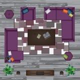 Καναπές, πολυθρόνα, μαξιλάρια, τάπητας, τραπεζάκι σαλονιού, μαξιλάρι πουφ, διανυσματική απεικόνιση εγκαταστάσεων Έπιπλα που τίθεν Στοκ Εικόνα