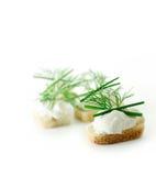 Καναπεδάκια μαλακών τυριών Στοκ εικόνα με δικαίωμα ελεύθερης χρήσης