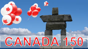 Καναδάς ημέρα 150 Inukshuk Στοκ φωτογραφίες με δικαίωμα ελεύθερης χρήσης