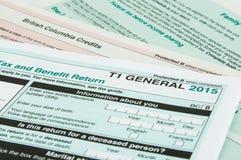 Καναδική μεμονωμένη φορολογική μορφή Στοκ Φωτογραφία