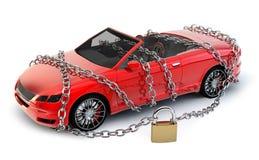 ΚΑΝΕΝΑ αυτοκίνητο ΕΜΠΟΡΙΚΩΝ ΣΗΜΆΤΩΝ που προστατεύεται & που εξασφαλίζεται με την αλυσίδα Στοκ Φωτογραφίες