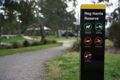 Κανονισμός σημάδι κανονισμού πάρκων επιφύλαξης Harris στοκ φωτογραφία