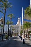 Καντίζ, Ανδαλουσία, Ισπανία Κύριες τετράγωνο πόλεων και αίθουσα πόλεων Στοκ φωτογραφία με δικαίωμα ελεύθερης χρήσης