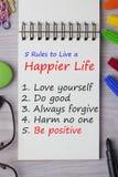 Κανόνες για να ζήσει μια πιό ευτυχισμένη ζωή απεικόνιση αποθεμάτων
