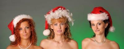 καπέλα τρία κοριτσιών Χρισ&t Στοκ Εικόνες