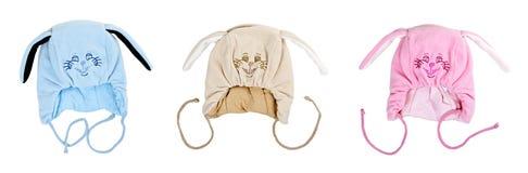 καπέλα s τρία κολάζ παιδιών Στοκ Εικόνες