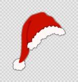 Καπέλο διανυσματικού Santa που απομονώνεται στο διαφανές υπόβαθρο, Χριστούγεννα, εορταστικό στοιχείο απεικόνιση αποθεμάτων