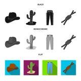 Καπέλο, κάκτος, τζιν, κόμβος στο λάσο Καθορισμένα εικονίδια συλλογής ροντέο στο μαύρο, επίπεδο, μονοχρωματικό απόθεμα συμβόλων ύφ Στοκ Φωτογραφίες