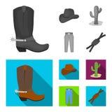 Καπέλο, κάκτος, τζιν, κόμβος στο λάσο Καθορισμένα εικονίδια συλλογής ροντέο στο μονοχρωματικό, επίπεδο απόθεμα συμβόλων ύφους δια Στοκ εικόνα με δικαίωμα ελεύθερης χρήσης
