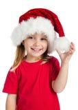 καπέλο κοριτσιών Claus λίγο santa Στοκ φωτογραφία με δικαίωμα ελεύθερης χρήσης
