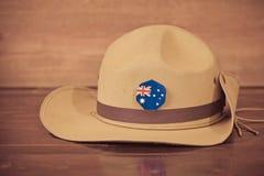 Καπέλο στρατού Anzac slouch με την αυστραλιανή σημαία Στοκ Εικόνες