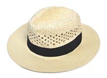 Καπέλο του Παναμά, παραδοσιακό θερινό καπέλο με τη μαύρη κορδέλα καπέλου στοκ εικόνες