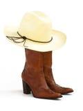καπέλο 2 μποτών cowgirl Στοκ εικόνα με δικαίωμα ελεύθερης χρήσης