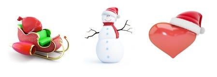 Καπέλο santa ατόμων χιονιού, έλκηθρο santa, καπέλο santa καρδιών σε μια άσπρη τρισδιάστατη απεικόνιση υποβάθρου, τρισδιάστατη από Στοκ φωτογραφία με δικαίωμα ελεύθερης χρήσης