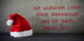 Καπέλο Santa, μέσα καλή χρονιά Gutes Neues Jarh Στοκ Εικόνες