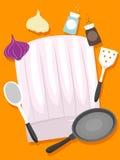 Καπέλα αρχιμαγείρων με τα στοιχεία κουζινών ελεύθερη απεικόνιση δικαιώματος