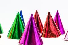 Καπέλα κόμματος, γενέθλια, καρναβάλι, κόμμα, άσπρο υπόβαθρο Στοκ Εικόνες