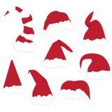 Καπέλα Santa Χριστουγέννων καθορισμένα Στοκ φωτογραφία με δικαίωμα ελεύθερης χρήσης