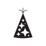 Καπέλο γενεθλίων με τη διανυσματική απεικόνιση αστεριών Στοκ Εικόνες