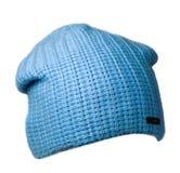 Καπέλο γυναικών ` s Πλεκτό καπέλο που απομονώνεται στο άσπρο υπόβαθρο μπλε καπέλο Στοκ εικόνες με δικαίωμα ελεύθερης χρήσης