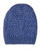Καπέλο γυναικών ` s Πλεκτό καπέλο που απομονώνεται στο άσπρο υπόβαθρο μπλε καπέλο Στοκ Φωτογραφίες