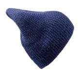 Καπέλο γυναικών ` s Πλεκτό καπέλο που απομονώνεται στο άσπρο υπόβαθρο μπλε καπέλο Στοκ Εικόνα
